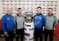 Press Eye - Belfast -  Northern Ireland - 13th February 2018 - Photo by William Cherry/Presseye. Ballymena United\'s Bryan McLoughlin & Jim Ervin and Dungannon Swifts Ryan Harpur and Rodney McAree pictured at the BetMcLean League Cup Final press conference at the National Stadium at Windsor Park, Belfast.