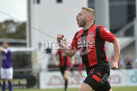 24th August 2019. Danske Bank Premiership. Seaview Belfast. Crusaders v Larne. Crusaders David Cushley celebrates after equalising for the Crues. Mandatory Credit : Stephen Hamilton/Inpho