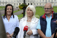 23/8/2019. Presseye.com. Margaret McGuckian  from SAVIA pictured with  fellow members Denise Burke and Ron Graham at  Stormont house in Belfast after a very positive meeting wit the Secretary of State for Northern Irelandthe  Rt Hon Julian Smith .. Mandatory Credit Presseye/Stephen Hamilton