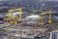 5th September 2009. Press Eye Northern Ireland. Picture by Matt Mackey . Harland and Wolf Cranes Belfast  General Views . File Image . A consortium which includes Harland and Wolff shipyard has won a 1.25 billion contract to build five new Royal Nay frigates.. The Babcock-led consortium will be named preferred bidder for the supply of five Type 31e frigates to the Royal Navy, in a huge boost to the viability of the under threat Harland and Wolff shipyard in Belfast.