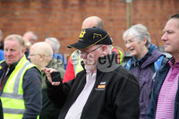 Mandatory Credit - Picture by Freddie Parkinson/Press Eye . Sunday 11 August 2019. Former and retired Harland and Wolff workers where invited to come to the shipyard at noon on Sunday August 11th when concrete prints will be made of the hands that built the shipyard.  The event is part of the ongoing occupation to save jobs and the yard..