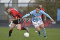 12th October 2019. Danske Bank Irish premiership. Ballymena v Crusaders at Warden Street.. Ballymena\'s Ryan Harpur   in action with Crusaders  Ross Clarke. Mandatory Credit -Inpho/Stephen Hamilton.