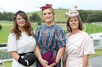 Press Eye - Belfast - Northern Ireland - 11th August 2019 - (L-R) Eileen McAuley, Marie Downey and Tracey McLaughlin pictured at the Downpatrick Racecourse Style Sunday race meeting. . Photograph by Declan Roughan / Press Eye