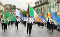 Press Eye - Belfast - Northern Ireland - 5th October 2019. Newry Republican Commemoration Committee parade through the town to Raymond McCreesh park to commemorate the hunger striker.  IRA volunteer Raymond McCreesh died in May 1981 as part of the Republican hunger strikes which seen 10 men die in the Maze prison.  A children\'s playpark in Newry was recently named after him. . A republican colour party leads the parade. . Picture by Jonathan Porter/PressEye