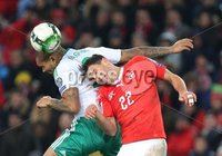 PressEye-Northern Ireland- 12th November  2017-Picture by Brian Little/ PressEye. Switzerland  Fabian Schar    and Northern Ireland  Josh Magennis    during Sunday night\'s FIFA  World Cup play-off  second leg match at St Jacob Park, Basel.. Picture by Brian Little/PressEye