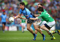 GAA Football All Ireland Senior Championship Quarter-Final, Croke Park, Dublin 2/8/2015. Dublin vs Fermanagh. Dublin\'s Diarmuid Connolly is tackled by Marty O'Brien of Fermanagh. Mandatory Credit ©INPHO/Cathal Noonan