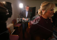 Press Eye Belfast - Northern Ireland 13th November 2017. Sinn Fein hold a press conference at Stormont regarding the ongoing talk to get the Northern Ireland Assembly up-and-running. . Northern leader Michelle O\'Neill and president Gerry Adams enter the room for the press conference. . Picture by Jonathan Porter/PressEye.com