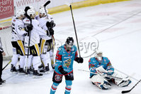 Press Eye - Belfast -  Northern Ireland - 13th January 2018 - Photo by William Cherry/Presseye. Nottingham Panthers Jeff Brown celebrates scoring against Belfast Giants during Saturday nights Elite Ice Hockey League game at the SSE Arena, Belfast.