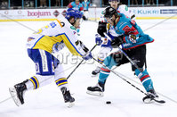 Press Eye - Belfast -  Northern Ireland - 09th February 2018 - Photo by William Cherry/Presseye. Belfast Giants Sebastien Sylvestre with Fife Flyers James Isaacs during Friday nights Elite Ice Hockey League game at the SSE Arena, Belfast.