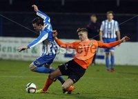 Mandatory Credit - Picture by Freddie Parkinson/Press Eye ©. Saturday 21st November 2015. NIFL Premiership. The Showgrounds, Coleraine.. Coleraine FC vs. Carrick Rangers FC. Coleraine\'s Darren McCauley and Carrick\'s Daniel Kelly.