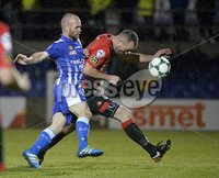 . Danske Bank Premiership, The Showgrounds, Co. Armagh 2/11/2018. Newry City vs Crusaders. Newry\'s Stephen Hughes in action with Crusaders Kyle Owens . Mandatory Credit INPHO/Stephen Hamilton.
