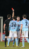 Danske Bank Premiership, Ballymena United vs Cliftonville, The Ballymena Showgrounds, Co. Antrim . 3/4/2018 . Ballymena United\'s Cathair. Friel receives a red card from referee Ian McNabb. Mandatory Credit ©INPHO/Matt Mackey