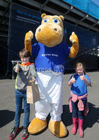Press Eye - Belfast - Northern Ireland - 16th May 2018. First day of the 2018 Balmoral Show, in partnership with Ulster Bank, at Balmoral Park.   Ulster Bank\'s Henry the Hippo meets Luca Kelly(9) and his sister Ava(6) from Donegal. . Picture by Jonathan Porter/PressEye
