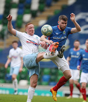 Danske Bank Premiership Play-off , Windsor Park, Belfast  7/4/2018. Linfield FC vs Ballymena United. Linfield\'s  Stephen Lowry   and   Stephen McAlorum   of Ballymena United.. Mandatory Credit @INPHO/Brian Little