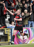 . Danske Bank Premiership Play-Off, Seaview, Belfast 14/4/2018 . Crusaders vs Linfield. Mandatory Credit ©INPHO/Stephen Hamilton. Crusaders Jordan Owens celebrates after heading his side into a 2-0 lead