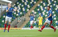 UEFA Europa League- Qualifying Third Round-2nd Leg, Windsor Park, Belfast  12/8/2019. Linfield FC vs FK FK Sutjeska. Linfield\'s  Shayne Lavery  celebrates scoring  against  FK Sutjeska.. Mandatory Credit  INPHO/Brian Little