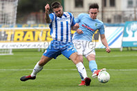 Danske Bank Premiership, The Showgrounds, Ballymena, 14/09/2019. Ballymena United vs Coleraine. Mandatory Credit INPHO/Declan Roughan. Ballymena United\'s Kofi Balmer with James McLaughlin of Coleraine