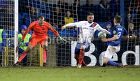 Danske Bank Premiership, Mourneview Park, Co. Armagh 3/4/2018 . Glenavon vs Linfield. Mandatory Credit ©INPHO/William Cherry. Glenavon\'s Bobby Burns scoring against Linfield