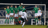 Press Eye - Belfast - Northern Ireland - 18th November 2019. Preparatory Friendly Tournament U19 2019 - Northern Ireland Vs Germany at Mourneview Park in Lurgan.. Northern Ireland defend a Germany free kick. . Picture by Jonathan Porter/PressEye
