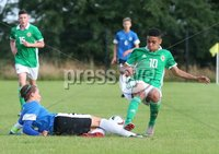PressEye-Northern Ireland- 19th August  2019-Picture by Brian Little/PressEye. Northern Ireland U16 Brodie Spencer   and Estonia U16 Alexander Kapitan Berrgman  during Monday evening\'s challenge match at Breda Park (Knockbreda FC).. Picture by Brian Little/PressEye .