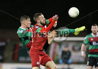 Danske Bank Premiership, The Oval, Belfast   4/10/2019. Glentoran  FC  vs Cliftonville  FC. Glentoran\'s  Marcus Kane and  Conor McMenamin  of Cliftonville .. Mandatory Credit  INPHO/Brian Little