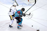 Press Eye - Belfast -  Northern Ireland - 12th January 2018 - Photo by William Cherry/Presseye. Belfast Giants Steve Saviano with Nottingham Panthers Steve Lee during Friday nights Elite Ice Hockey League game at the SSE Arena, Belfast.