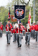 PressEye - Belfast - Northern Ireland - 17 April 2017. Members of the Apprentice Boys of Derry pass St Patricks Church in Donegall Street, Belfast as part of the Easter Monday ABOD parades.. Picture: Philip Magowan / PressEye