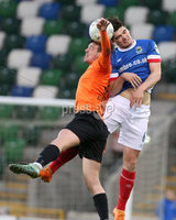 PressEye-Northern Ireland- 18th April 2017-Picture by Brian Little/PressEye. Linfield  Jimmy Callacher    and Glenavon James Gray  during Easter Tuesday\'s Danske Bank Section A match at Windsor Park.. Picture by Brian Little/PressEye