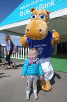 Press Eye - Belfast - Northern Ireland - 16th May 2018. First day of the 2018 Balmoral Show, in partnership with Ulster Bank, at Balmoral Park.  Ulster Bank\'s Henry the Hippo pictured with Erin Gould(2) from ballygowan.. . Picture by Jonathan Porter/PressEye