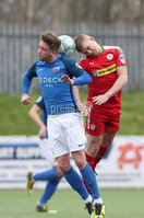 Danske Bank Premiership, Solitude, Belfast 14/4/2018 . Clliftonville vs Glenavon. Clliftonville\'s Levi. Ives in action with Glenavon\'s Mark. Griffin. Mandatory Credit ©INPHO/Matt Mackey