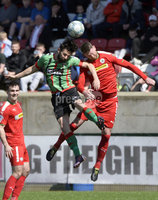 12th May 2018. Europa league play off final between Cliftonville and Glentoran at Solitude in Belfast.. Cliftonville\'s Garry Breen  in action with Glentorans Curtis Allen. Mandatory Credit: Inpho/Stephen Hamilton