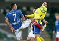 Danske Bank Premiership, Windsor Park, Belfast 2/12/2017 . Linfield vs Dungannon Swifts. Linfield\'s Andrew Waterworth and Kris Lowe of Dungannon Swifts. Mandatory Credit ©INPHO/Brian Little
