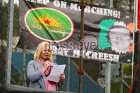 Press Eye - Belfast - Northern Ireland - 5th October 2019. Newry Republican Commemoration Committee parade through the town to Raymond McCreesh park to commemorate the hunger striker.  IRA volunteer Raymond McCreesh died in May 1981 as part of the Republican hunger strikes which seen 10 men die in the Maze prison.  A children\'s playpark in Newry was recently named after him. . A list of republicans who died on hunger strike is read out as the parade arrives at Raymond McCreesh park. . Picture by Jonathan Porter/PressEye