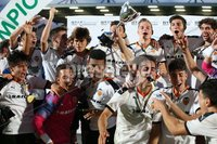 PressEye-Northern Ireland- 2nd August 2019-Picture by Brian Little/PressEye. Valencia celebrate lifting the cup after defeating Newcastle United 2-1       in the STATSports SuperCupNI Premier  Final , at Ballymena  Showgrounds .. Picture by Brian Little/PressEye .