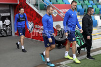 Press Eye - Belfast - Northern Ireland - 8th  September 2019. Northern Ireland train at the National Stadium ahead of their UEFA Euro Qualifier against Germany.. Picture by Declan Roughan/PressEye. (L-R) Ciaran Brown, Niall McGinn and Jonny Evans