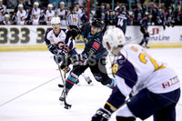 Press Eye - Belfast, Northern Ireland - 04th October 2019 - Photo by William Cherry/Presseye. Belfast Giants\' Ben Lake scoring against Guildford Flames during Friday nights EIHL game at the SSE Arena, Belfast.   Photo by William Cherry/Presseye