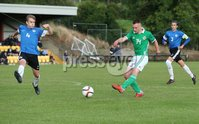 PressEye-Northern Ireland- 19th August  2019-Picture by Brian Little/PressEye. Northern Ireland U16   Elliott Wood  and Estonia U16 Ants Joosep Virkus  during Monday evening\'s challenge match at Breda Park (Knockbreda FC).. Picture by Brian Little/PressEye .