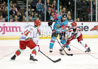 11 November 17, Mandatory Credit ©Press Eye/Darren Kidd.  Belfast Giants Cole Jarrett with Cardiff Devils Bryce Reddick and Mark Richardson during Saturday nights Elite League game at the SSE Arena, Belfast. Photo by Darren Kidd/Presseye