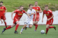 Press Eye - Belfast - Northern Ireland -15th July. Photo by Stephen Hamilton  / Press Eye.. Pre season friendly match between Cliftonville and Swansea u23 at Solitude in Belfast.. Cliftonvilles Chris Curran in action with Swansea\'s Aaron Lewis