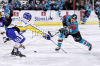 Press Eye - Belfast -  Northern Ireland - 09th February 2018 - Photo by William Cherry/Presseye. Belfast Giants Brendan Connolly with Fife Flyers Jim Jorgenson during Friday nights Elite Ice Hockey League game at the SSE Arena, Belfast.