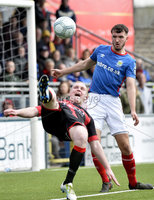 . Danske Bank Premiership Play-Off, Seaview, Belfast 14/4/2018 . Crusaders vs Linfield. Mandatory Credit ©INPHO/Stephen Hamilton. Crusaders Jordan Owens  with Linfields Josh Robinson