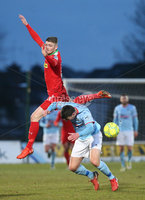 Danske Bank Premiership, Ballymena United vs Cliftonville, The Ballymena Showgrounds, Co. Antrim . 3/4/2018 . Ballymena United\'s Johnny. Flynn in action with Cliftonville\'s Rory. Donnelly. Mandatory Credit ©INPHO/Matt Mackey