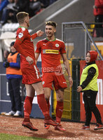 9th May 2018. Europa league play off semi final match between Cliftonville and Ballymena United at Solitude in Belfast.. Cliftonvilles Jay Donnelly celebrates after firing his side into a 2-0 lead. Mandatory Credit ©Inpho/Stephen Hamilton