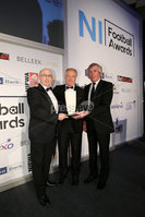 Press Eye - Belfast - Northern Ireland - 7th May 2018  - . NI Football Awards at the Crowne Plaza Hotel.. . THE MACOLM BRODIE HALL OF FAME. Stephen Brodie and Pat Jennings make a presentation to Jimmy Nicholl . Photo by Kelvin Boyes / Press Eye .