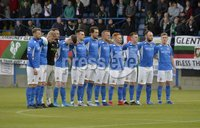 9th August 2019. Danske Bank Premiership. Mourneview Park, Lurgan. . Glenavon FC Vs Glentoran FC. Glenavon players pictured during a minutes silence for Tommy Breslin . Mandatory Credit : Stephen Hamilton/Inpho