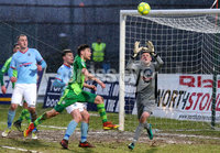 Bet McLean Cup Semi-Final, Showgrounds, Co. Antrim 10/2/2018. Ballymena United vs Cliftonville. Ballymena\'s Ross Glendinning comes out to clear the ball. Mandatory Credit ©INPHO/Jonathan Porter