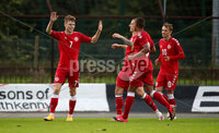 Press Eye - Belfast, Northern Ireland - 0th September 2020 - Photo by William Cherry/Presseye. Denmark\'s Andreas Olsen celebrates scoring a penalty against Northern Ireland during Tuesday nights U21 Euro Qualifier at the Ballymena Showgrounds, Ballymena.      Photo by William Cherry/Presseye