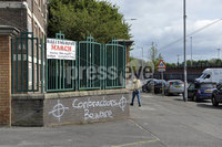 Presseye.com. 7th August 2019. General scenes from the New Lodge area in Belfast where graffiti has appeared over night threatening contractors if they removed bonfire wood .. Mandatory Credit : Stephen Hamilton/Presseye