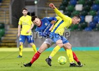 Danske Bank Premiership, Windsor Park, Belfast 10/2/2018. Linfield vs Dungannon Swifts. Linfield\'s Niall Quinn in action with Seanan Clucas of Dungannon. Mandatory Credit ©INPHO/Declan Roughan