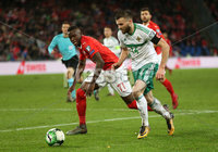 Press Eye - Belfast -  Northern Ireland - 12th November 2017 - Photo by William Cherry/Presseye. Northern Ireland\'s Stuart Dallas with Switzerland\'s Denis Zakaria during Sunday nights World Cup Play Off 2nd leg game at St. Jakob-Park, Basel.